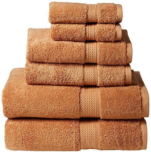 Superior 900 GSM Luxury Bathroom 6-Piece Towel Set, Made of 100% Premium Long-Staple Combed Cotton, 2 Hotel & Spa Quality Washcloths, 2 Hand Towels, and 2 Bath Towels - Rust