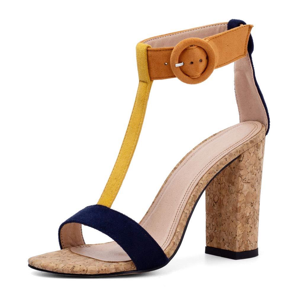 e79b7eb769 Amazon.com | Women's Summer T-Shaped Wood-Tone Buckle Block Suede Open Toe  Heel Pump Sandals | Heeled Sandals