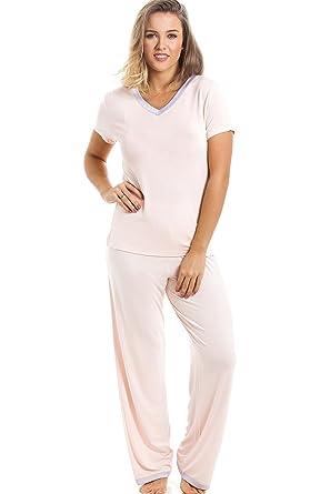 cc1a6b7fe3 Camille Womens Nightwear Stylish Full Length Short Sleeve Peach Pyjama Set 8  10