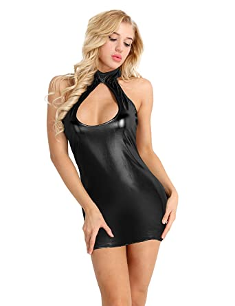 3dd41e9fce1 Freebily Sexy Hot Mini Dress Women Sleeveless Wetlook Leather Clubwear  Bodycon Tube Dress  Amazon.co.uk  Clothing