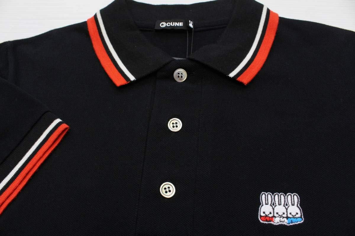 CL16キューンCUNE半袖ポロシャツM日本製 ウサギ3匹 刺繍 鹿の子 トリコロール 貝ボタン ゴルフ