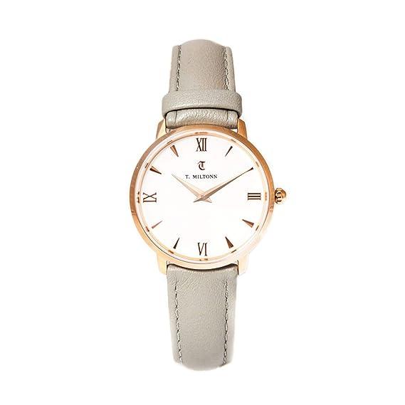 Reloj mujer extra-plate chapado oro rosa pulsera piel
