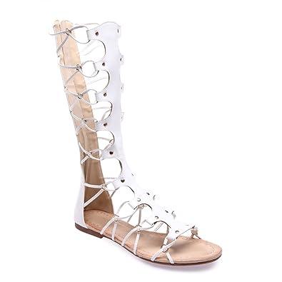 e73eceb09d9 La Modeuse - Sandales Montantes Style Spartiate en Simili Cuir  Amazon.fr   Chaussures et Sacs