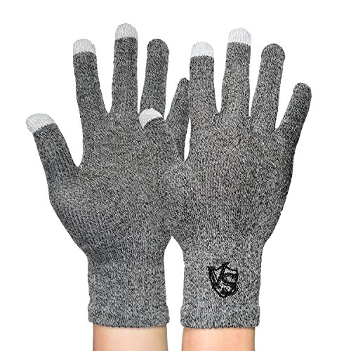 Vital Salveo-Office Unisex Recovery Touchscreen, Running, Driving, Texting Arthritis Gloves for Smartphones (Pair)-Large-Light Grey