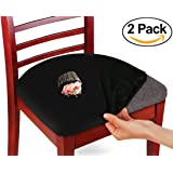 Kleeger Chair Covers Protective & Stretchable: Fits Round And Square Chairs. For Kids, Pets, Set Of 2 - Black