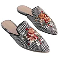 Barphil Women Mule Flats Closed Pointed Toe Embroidery Slippers,Woman Slip on Backless Loafers Shoes