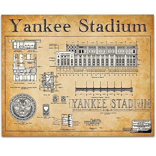 Yankee Stadium Wood - Yankee Stadium Blueprints Art Print - 11x14 Unframed Art Print - Great Sports Bar Decor and Gift for Baseball Fans