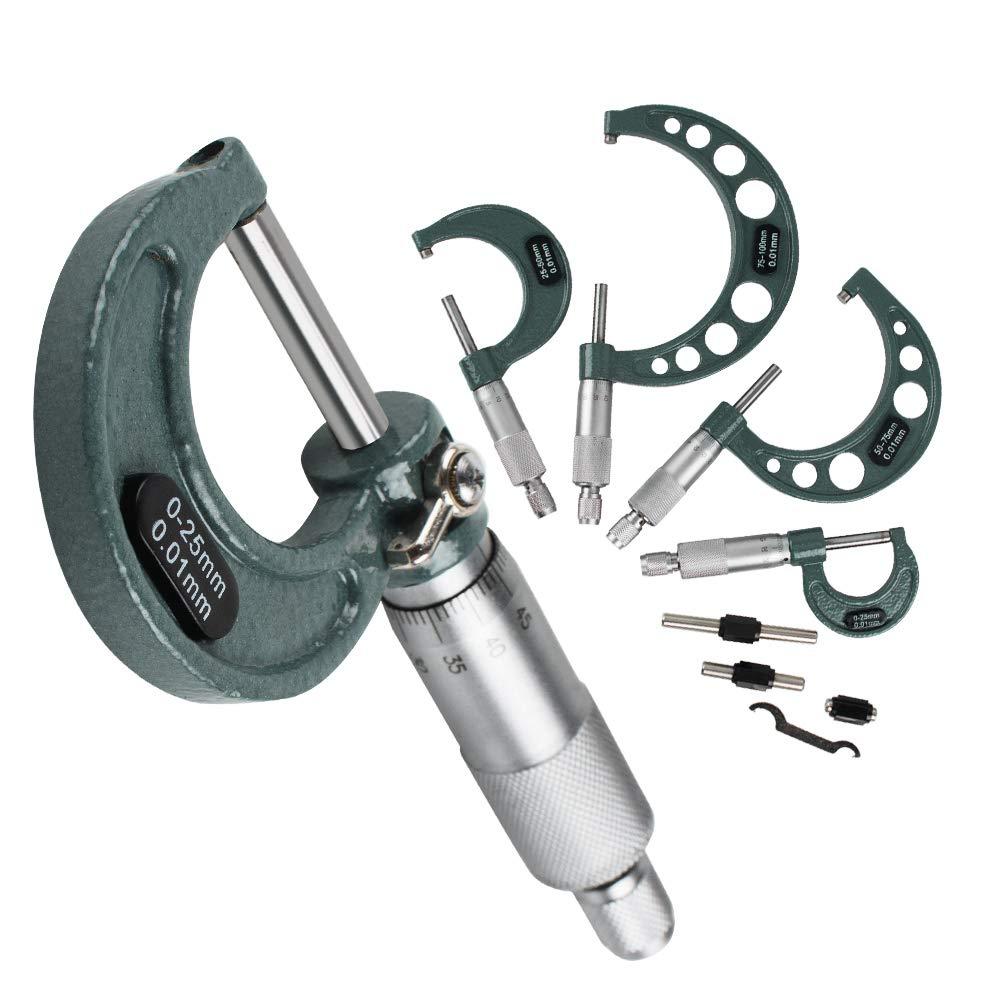 Denshine 4pcs Outside Micrometer Set 0-25mm/25-50mm/50-75mm/75-100mm Metric Carbide Gauge Standards Caliper Tools Precision Machinist Tool