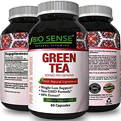 Pure Green Tea Extract Weight Loss Supplement Burn Belly Fat + Boost Metabolism All Natural Antioxidant Vitamins EGCG Detox Cleanse Energy Pills Pre Workout Natural Appetite Suppressant by Bio Sense