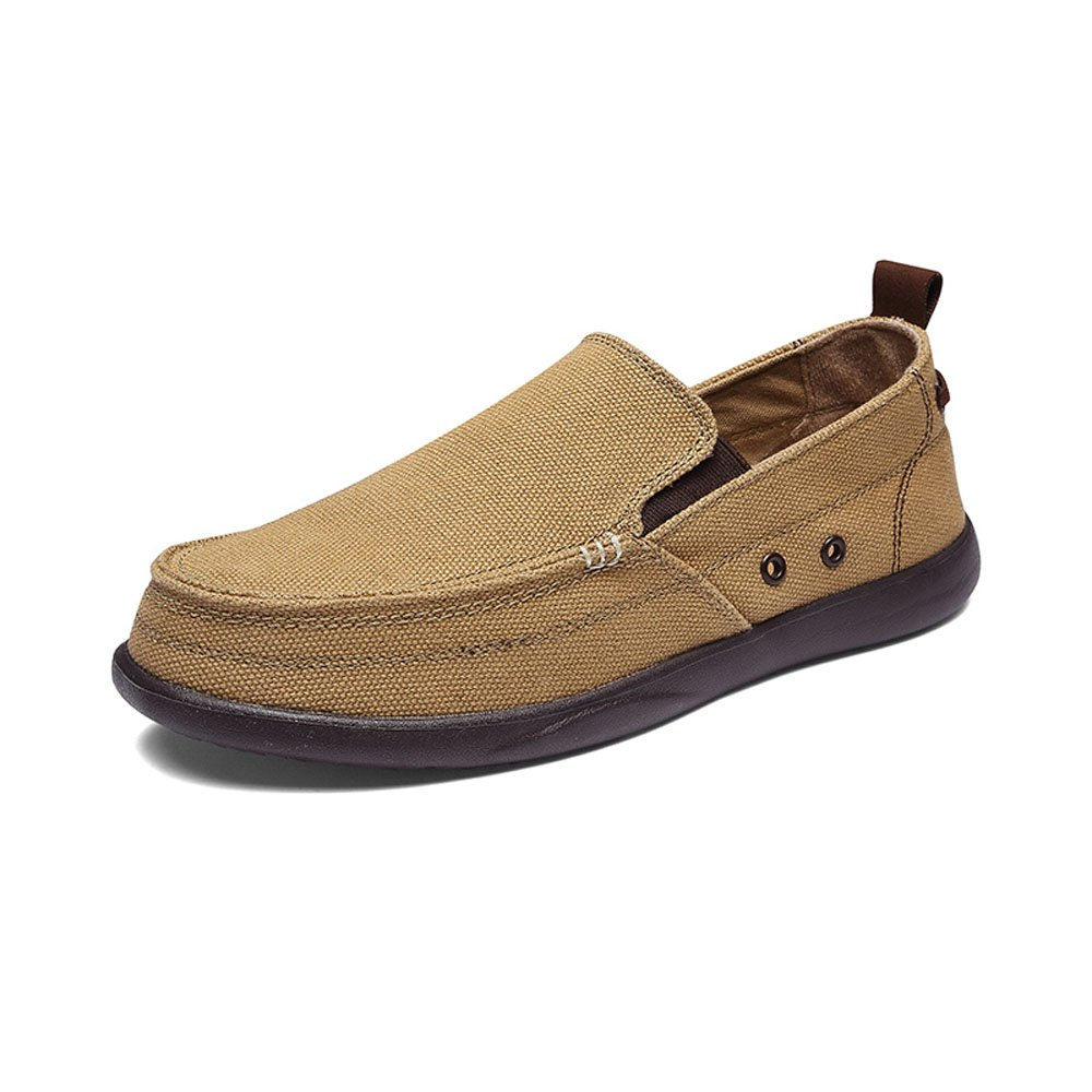 VILOCY Men's Casual Driving Canvas Slip-On Loafers Outdoor Walking Shoes Lightweight Sneakers Khaki,46