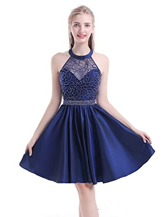 Yiweir Womens Short Tulle Pearls Homecoming Dresses 2018 Halter Formal Prom Gowns Size 0 Navy Blue