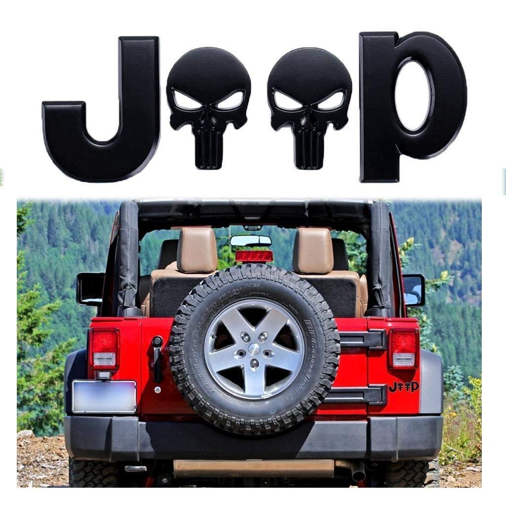 Xotic Tech 3D Letter Emblem for Jeep Punisher Skull Logo Sticker Car Side Fender Body Rear Trunk Metal Badge Decal for Wrangler Compass Grand Compass Cherokee Renegade Patriot Silver Chrome