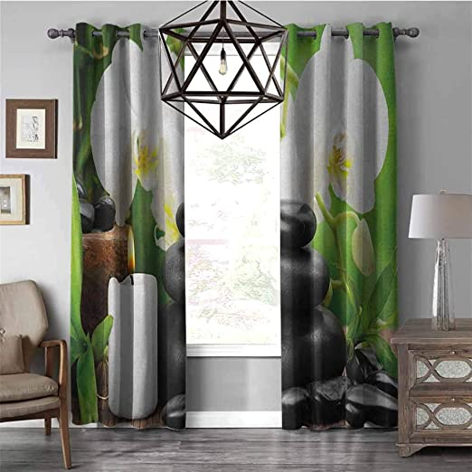 Amazon Com Room Darkening Curtains For Living Room Spazen Hot Massage Stones With Orchid Candles And Magnificent Nature Remedies Thermal Insulated Grommet Blackout Curtains For Bedroom Black And W84 X L72 Inch Home