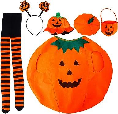 Amazon Com Garneck Halloween Pumpkin Costume Kit Felt Pumpkin Outfit Hat Headband Stocking Candy Bucket Cosplay Accessory For Adult Men Women Orange Clothing