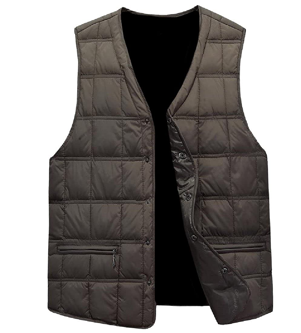 Abetteric Mens Button Closure Large Size Chunky Quilted Jacket Vest
