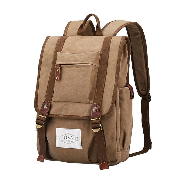 OXA Vintage Canvas Backpack Laptop Bag Computer Bag Daypack College Bag  Book Bag Travel Bag Camping 7a77b54953869