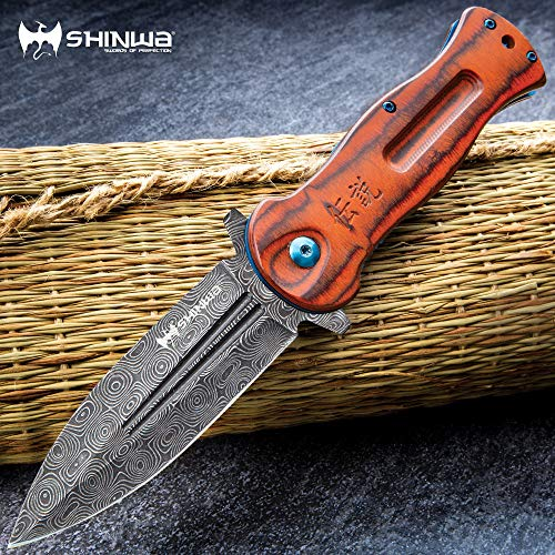 Shinwa Ganjo Bloodwood Pocket Knife - Assisted Opening, 3Cr13 Stainless Steel Blade, Wooden Handle Scales, Blue Metallic Liners