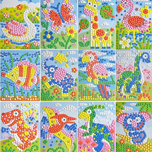 Lzttyee Mosaic Sticker DIY Handmade Art Kits Kids --Sloth, Elephant, Giraffe, Woodpecker, Tyrannosaurus Rex, Goose、Astronaut, Alien, Car, UFO, Spaceship, Airplane Etc (12Pack) (Animal World) ()