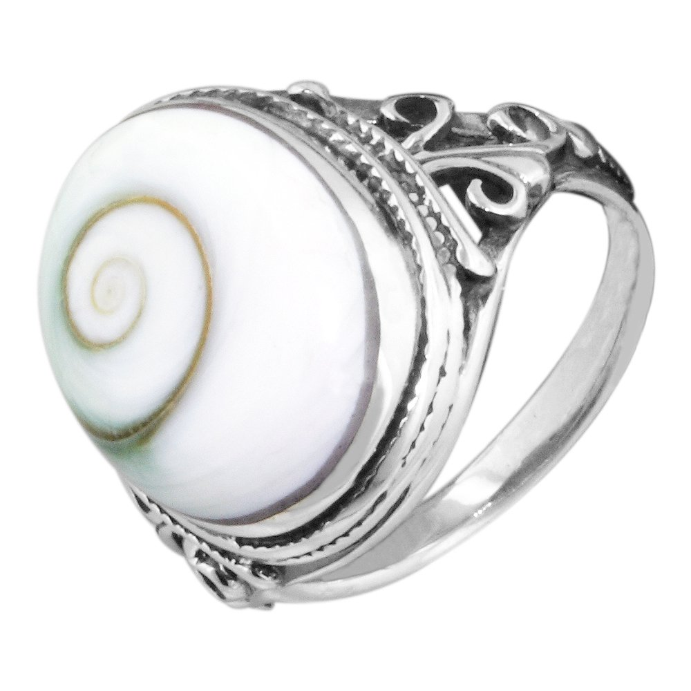Vintage Style Sterling Silver Ring with Oval Eye of Shiva Shell Inlay