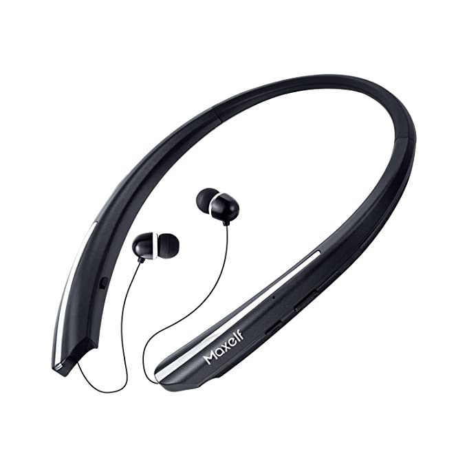 9ed2f1cfd96 Maxelf Wireless Headphones, Retractable Earbuds Ultra Lightweight Sport  Sweatproof Bluetooth 4.1 Headset Noise Cancelling Stereo