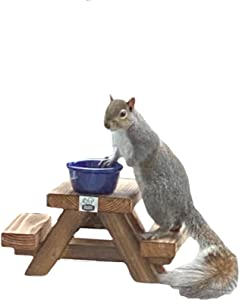 Handmade Squirrel Picnic Table Feeder from The Squirrel Projects– Crafted from Cedar with Melamine Bowl & Handy Squirrel Food Guide – Cute Squirrel Gifts, Products & Décor (Cobalt Blue Melamine)