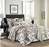 3 Piece Classic Floral Design Comforter Set King Size, Featuring Reversible Elegant Flower Garden Motif Bedding, Stylish French Country Inspired Bold Bedroom Decoration, Beige, Grey, Multicolor