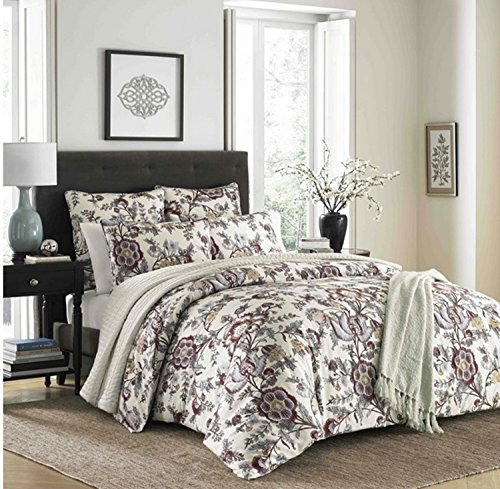 3 Piece Classic Floral Design Comforter Set King