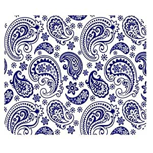 Generic Personalized Retro Style White and Blue Paisley Flower for Rectangle Mouse Pad