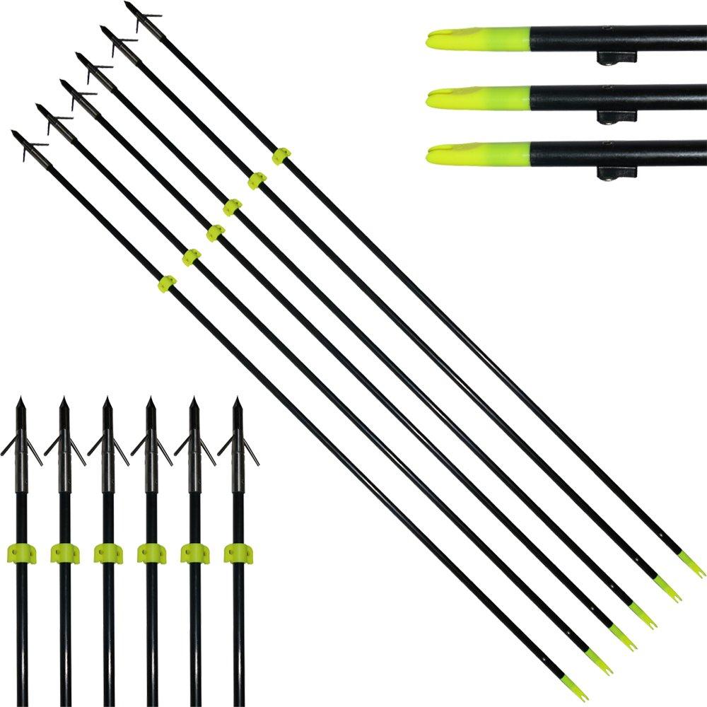 HBG 6Pcs Archery Fiberglass Fishing Arrows 34'' Length 8mm Bow Fishing Hunting Arrow Classic Fish Arrows with Points