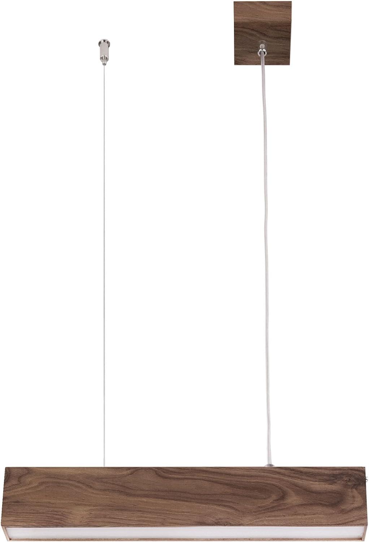 Elbmöbel Jil, Hängeleuchte, Loft, Stahl, Integriert, Naturholz, in Eiche-natur oder Walnussholz, geölt, weiss, 61 x 8 x 3,5 cm inkl. warmweiß LED 8 Watt, 3000 K, 760 LM, Acrylglas (Walnuss)