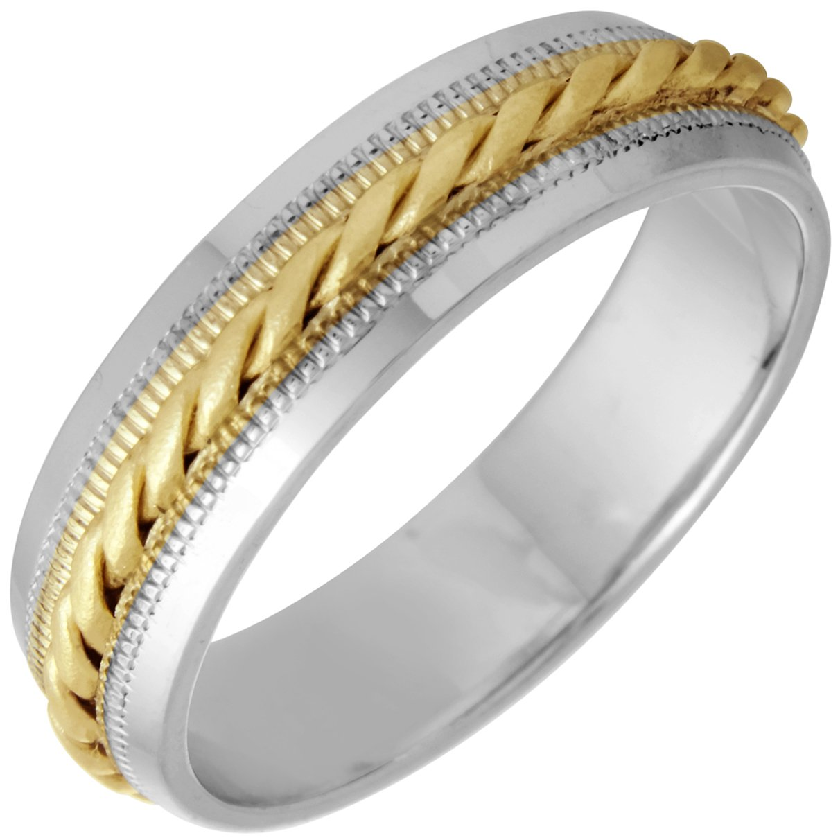 Amazon 14k Twotone Yellow And White Gold Braided Coil Twist Women's Fortfit Wedding Bands 6mm Jewelry: Twisted Two Tone Wedding Bands At Websimilar.org