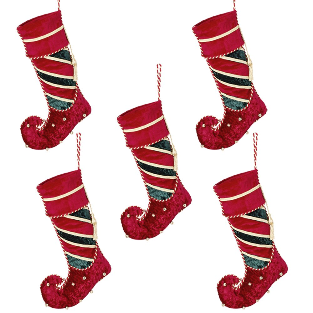 Lusso velluto Jingle Bell calza di Natale. Perfetto per appendere sul caminetto questo Natale., Red, 2 pezzi Dibor - French Style Accessories for the Home