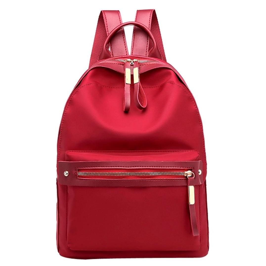 ZTY66 Women Fashion Nylon Student Backpack Shoulder Crossbody Bag Casual Travel Bag (Red)