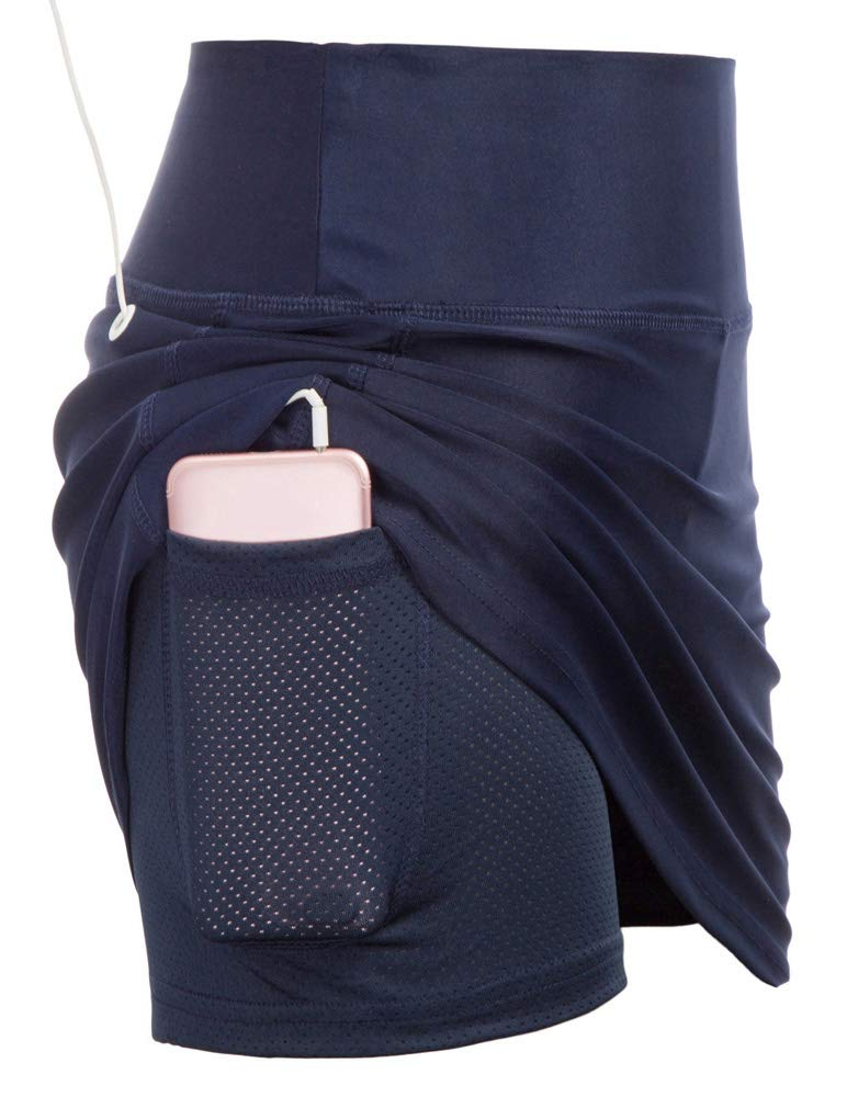 JACK SMITH Women's Casual Pleated Tennis Golf Skirt with Underneath Shorts Running Skorts (2XL,Navy) by JACK SMITH