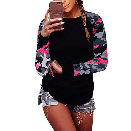 OverDose Camiseta mujer de manga larga blusa ocasional camiseta de las tapas