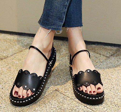 Chaussures Mode Noir Femme Etoiles Mules Plates Aisun Ouvert Bout SEAqw15