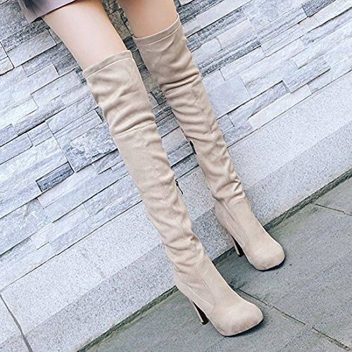 YE Damen Overknee Stiefel Stiletto High Heels mit Reißverschluss und 11cm Absatz Elegant Simple Schuhe Grau