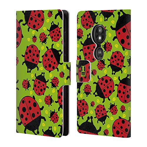Head Case Designs Green Ladybug Bugged Life Leather Book Wallet Case Cover for Motorola Moto E5 Play