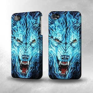 Apple iPhone 5 / 5S Case - The Best 3D Full Wrap iPhone Case - Blue Fire Grim Wolf