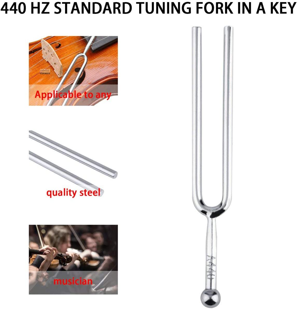 #N//A Tunable 440Hz A Tone Stainless Steel Tuning Fork Portable Violin Guitar Tuner