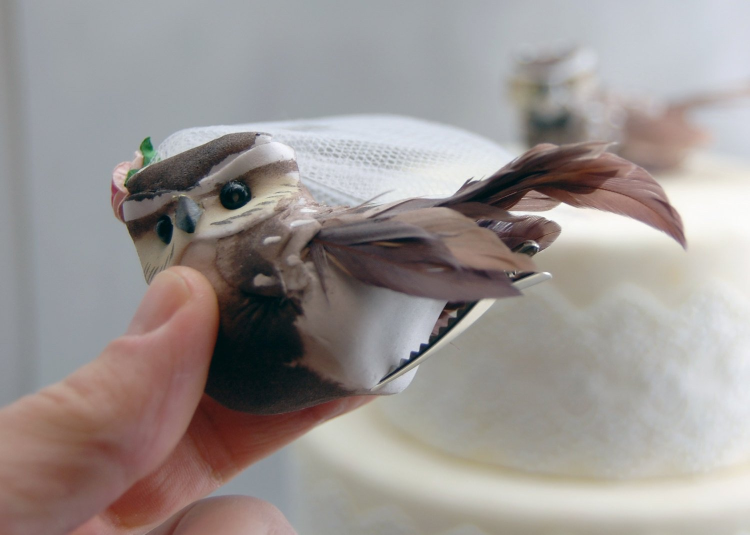 Owl Cake Topper in Cocoa Brown: Woodland''Bride and Groom'' Love Bird Wedding by Becky Kazana (Image #4)