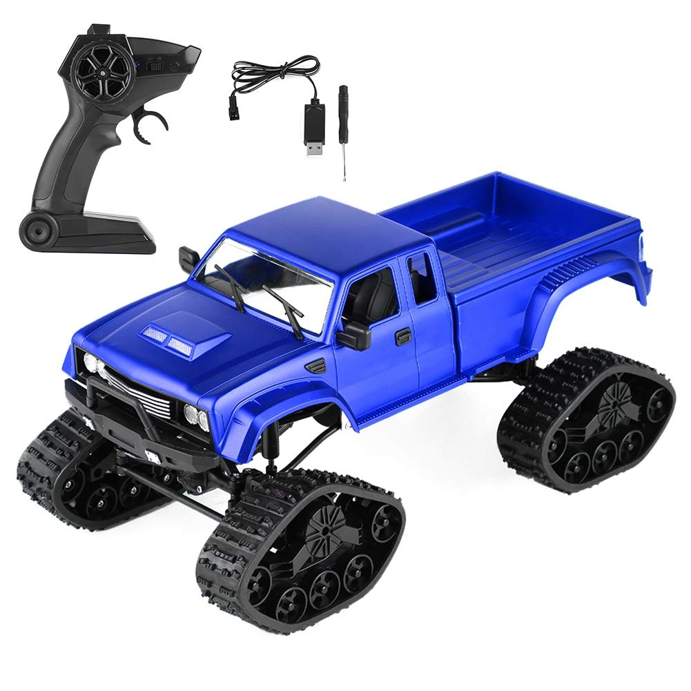 bluee Big Tires, No Camera Dilwe RC Truck, 4 Channels Remote Control 2.4GHz RC Military Truck Electric Crawler Car Vehicle with Headlamp(Big Tires, 0.3MP Camerabluee)