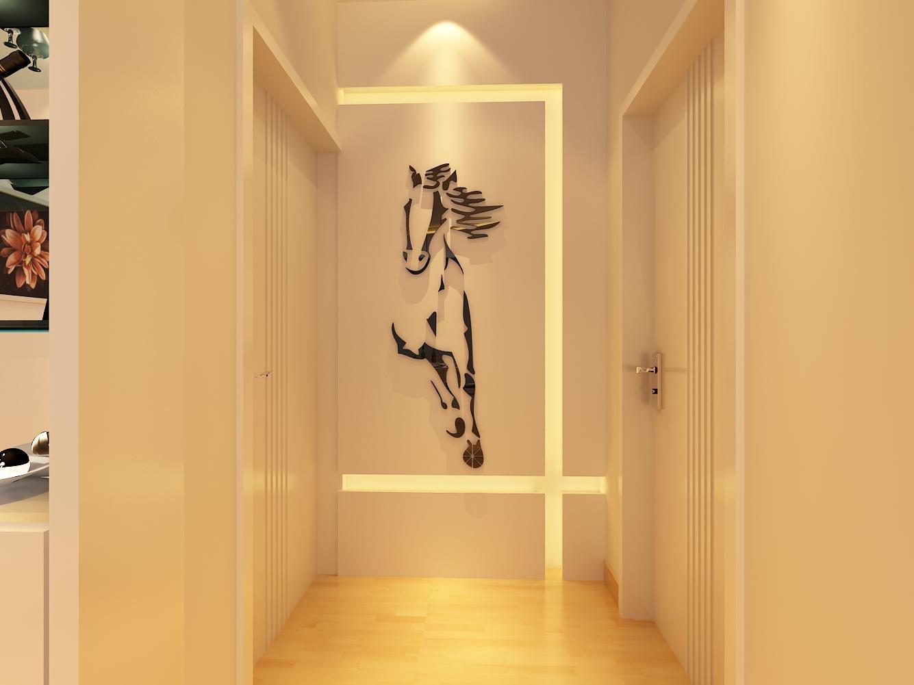 Amazon.com: 3d Running caballos murales de pared para sala ...