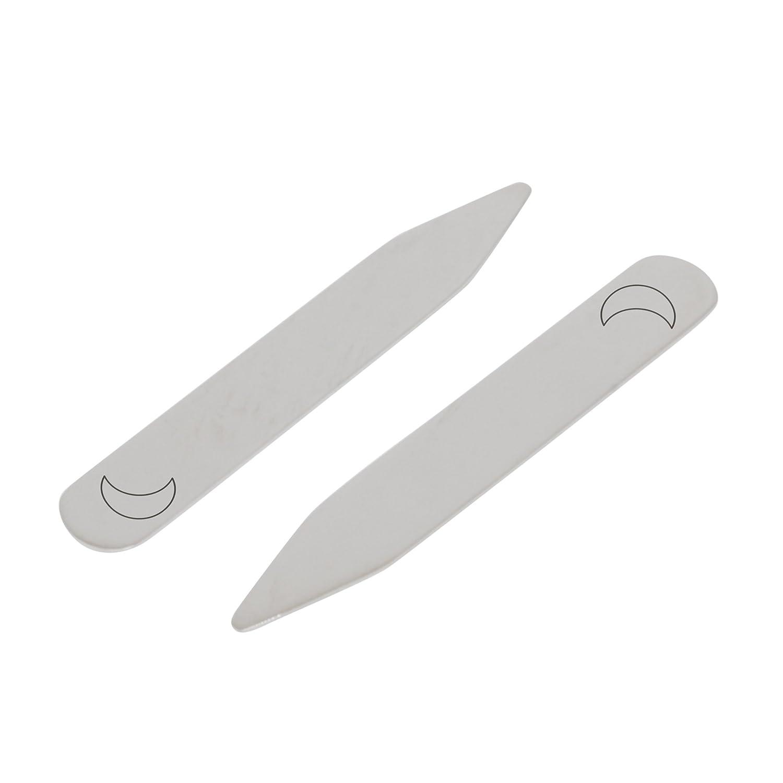 MODERN GOODS SHOP Stainless Steel Collar Stays With Laser Engraved Halfmoon Design Made In USA 2.5 Inch Metal Collar Stiffeners