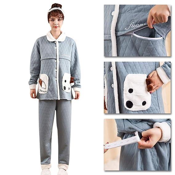 25689ed23 BOZEVON Mujer Embarazada Pijama de Lactancia Invierno Ropa - Un Juego de  Blusa de Algodón Grueso y Pantalones Ocasionales Ropa para Amamantar para  Mujeres ...