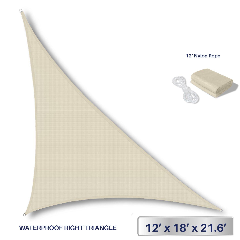 Windscreen4less Terylene Waterproof Sun Shade Sail UV Blocker Triangle Sunshade Patio Canopy Sail 12' x 18' x 21.6' in Color Beige - Customized Sizes