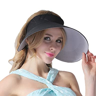 b66937256bb502 CACUSS Women's Summer Sun Hat Large Brim Visor Adjustable Nylon Buckle  Packable UPF 50+ Black