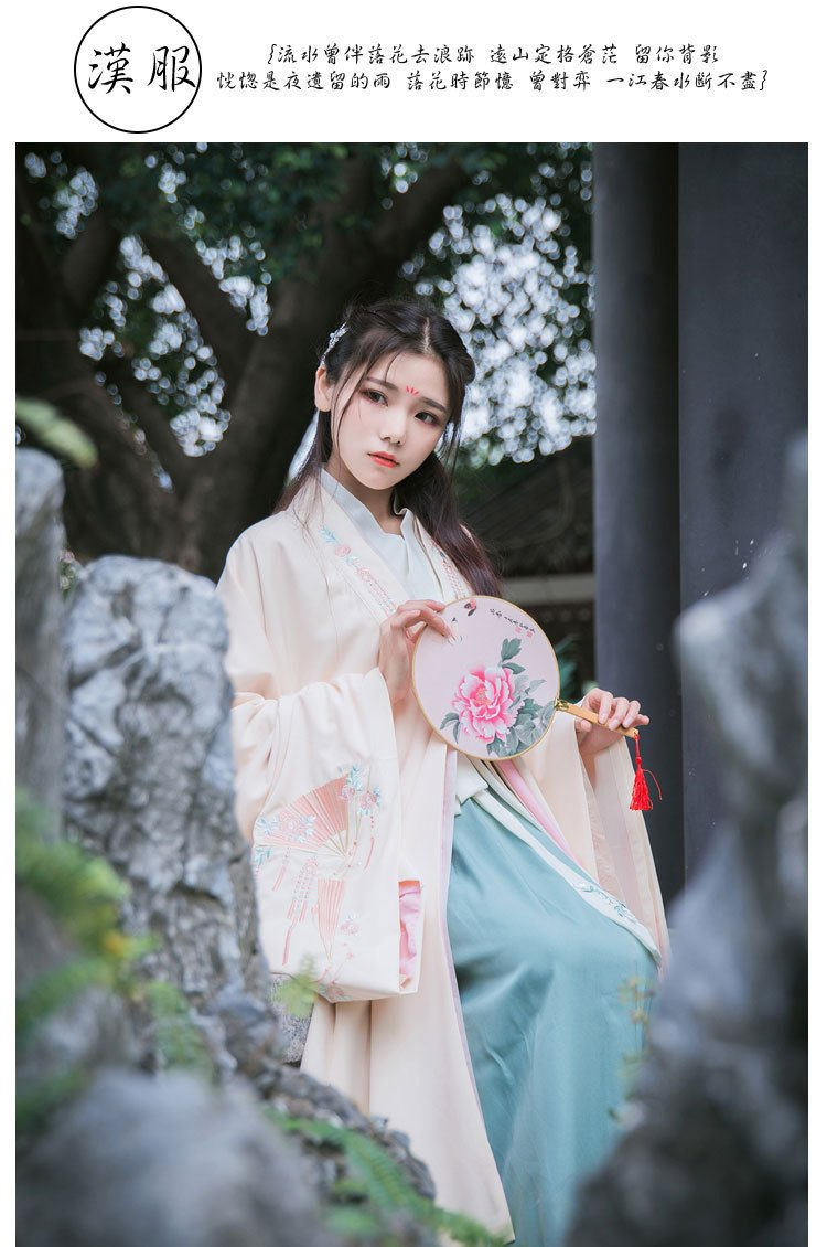 Generic Traditional female costume Han Chinese clothing Ming system large-sleeved shirt embroidered jacket p archaic fairy costume for women girl