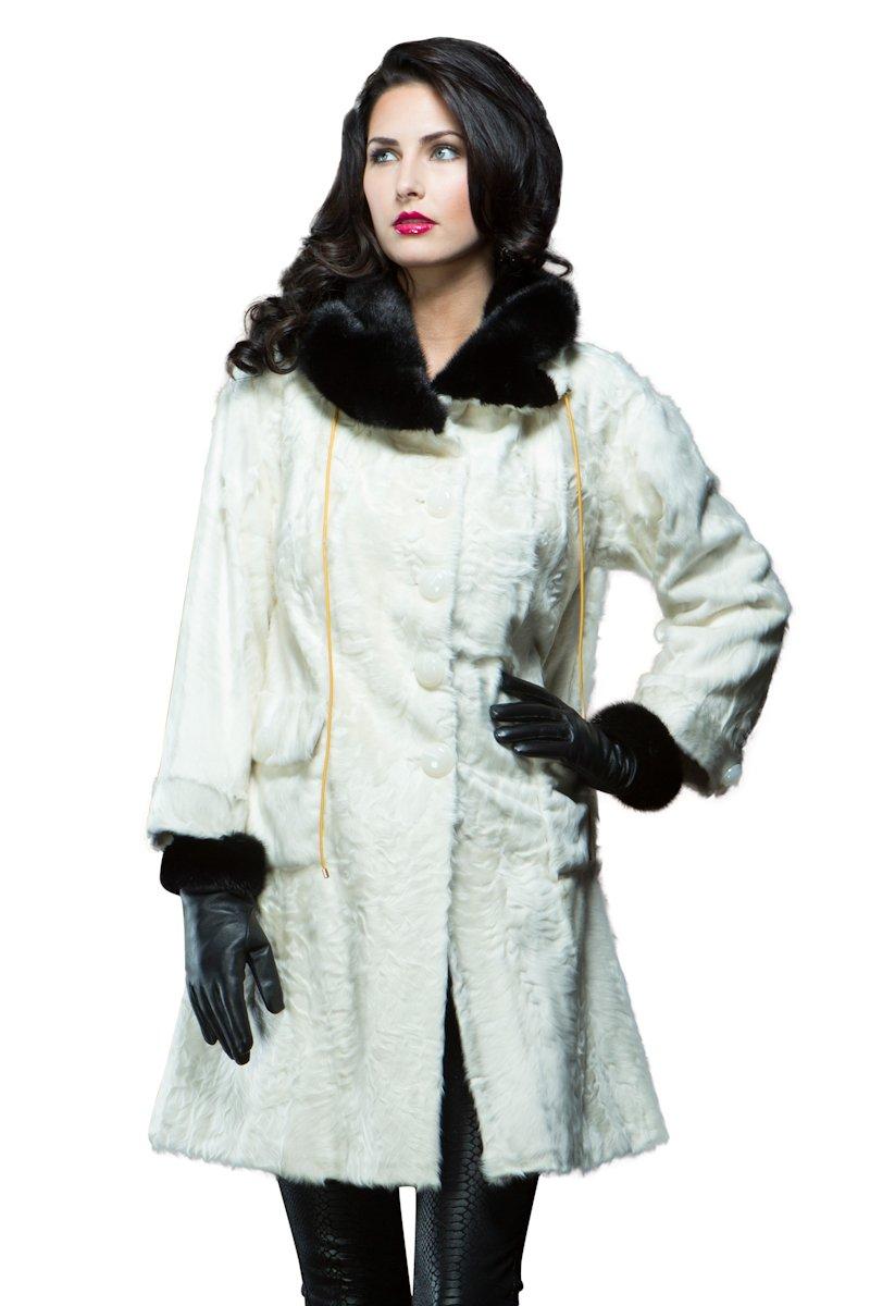 EM-EL Women's Mahogany Mink Fur Trimmed Brown Leather Gloves by EM-EL
