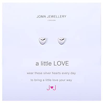 A Little Love Silver Heart Earrings By Joma jewellery KbSyW